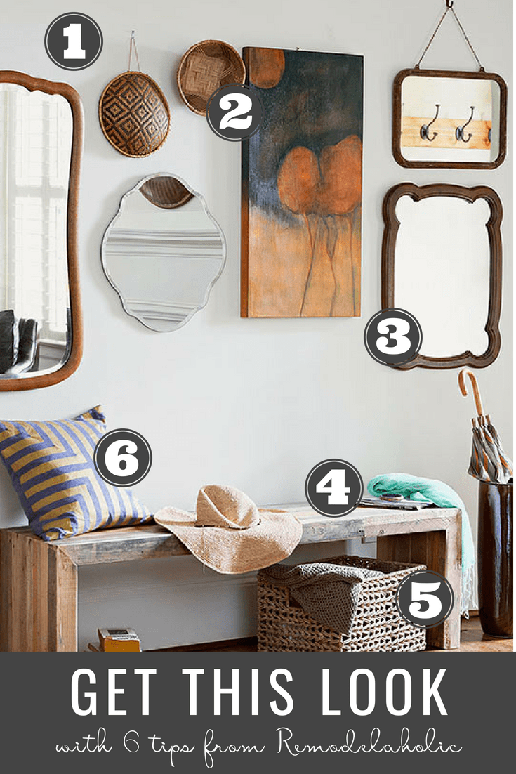 Get This Look: Modern Rustic Entryway with Mixed Materials | Mixed elements like geometric mirrors with woven baskets and a sleek wood bench with a texture rich throw pillow all help shape this entryway's modern rustic style. This design formula works well in a variety of home styles and can be easily adapted for small and large entryways. #remodelaholic #getthislook #modernrustic