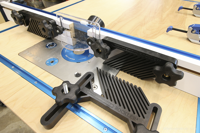Router Lifter with Sliding Track on Rockler T-Tracks | DIY Router Table and Table Saw Workbench Building Plan #remodelaholic