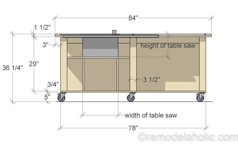 Front View, DIY Router Table and Table Saw Workbench Building Plan | Free Printable Building Plans #remodelaholic