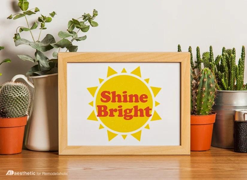 Free Printable Graphic Shine Bright AD Aesthetic For Remodelaholic • Horizontal