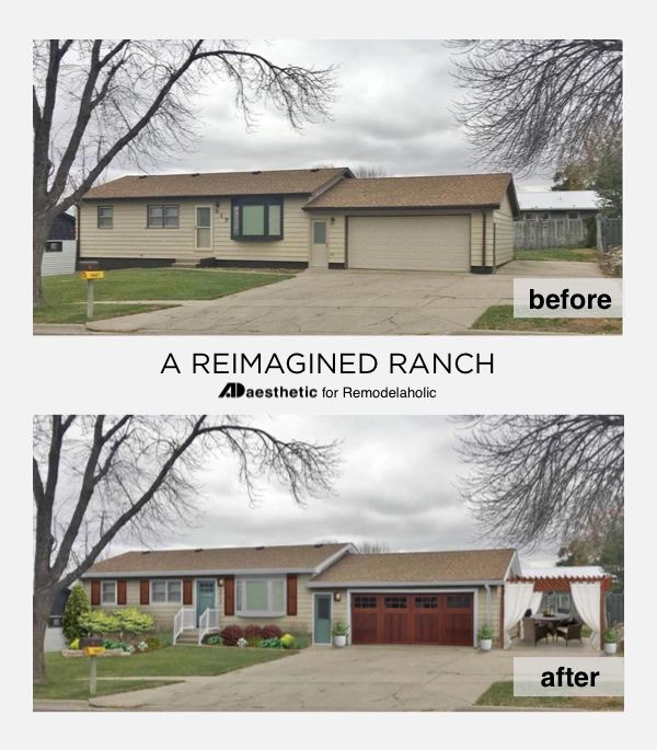A dated ranch exterior gets a reimagined look and added curb appeal *without painting* in this virtual makeover featuring new cedar shutters, a pergola, and a new garage door. #remodelaholic #realliferooms #curbappeal #exteriorupdate