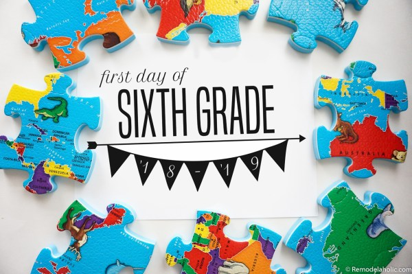 Printable First Day Of School Signs For Photos K 12 2018 2019 School Year #remodelaholic (4)