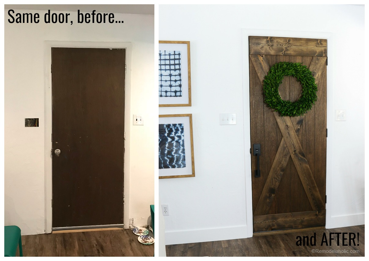 Flat panel door to wood barn door for just $25! Such an affordable farmhouse style update for your home. #remodelaholic