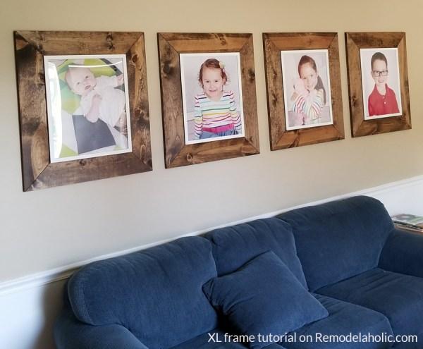 Extra Large Wooden Farmhouse Frame Tutorial IKEA FISKBO Frame Hack #remodelaholic