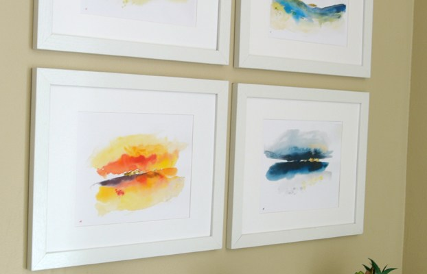 Printable Abstract Watercolor Landscape Set + Easy IKEA Hack Wood Picture Frame