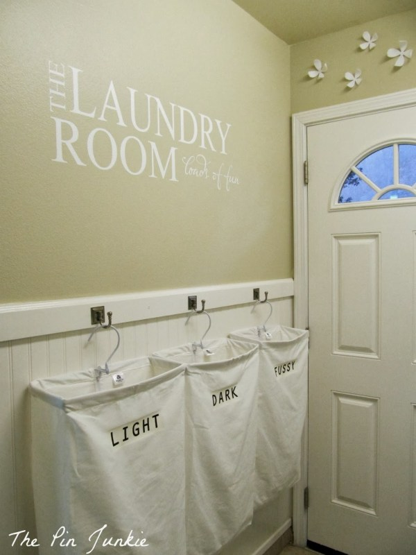 Laundry Room Makeover With Personalized Hanging Laundry Bags The Pin Junkie Featured On Remodelaholic