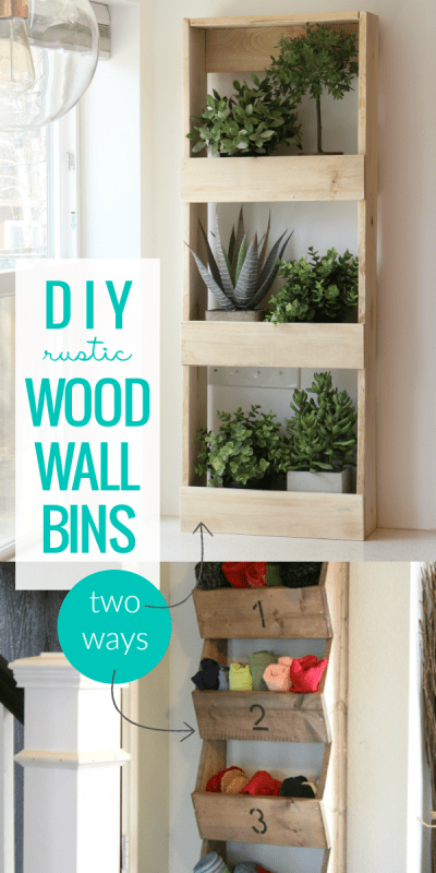 A rustic wood wall bin is the perfect wall storage for hats and gloves, craft supplies, plants, bathroom toiletries, and more. Build an easy no-tools-required wall bin or a simple angled wall bin. #remodelaholic #freebuildingplan #beginningbuilder