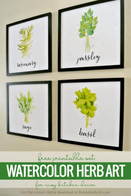Free Printable Set Watercolor Herb Art For Easy Kitchen Decor Printable Digital Download #remodelaholic