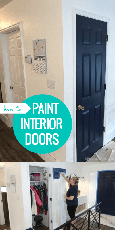 How To Paint Interior Doors With A Faux Wood Grain Finish And Raised Panels | See how we painted our interior doors to add color to our neutral open floor plan. Our navy doors and other color accents feature the BEHR 2019 Color of the Year, Blueprint, and other monochromatic blue paint colors. #remodelaholic #coloroftheyear