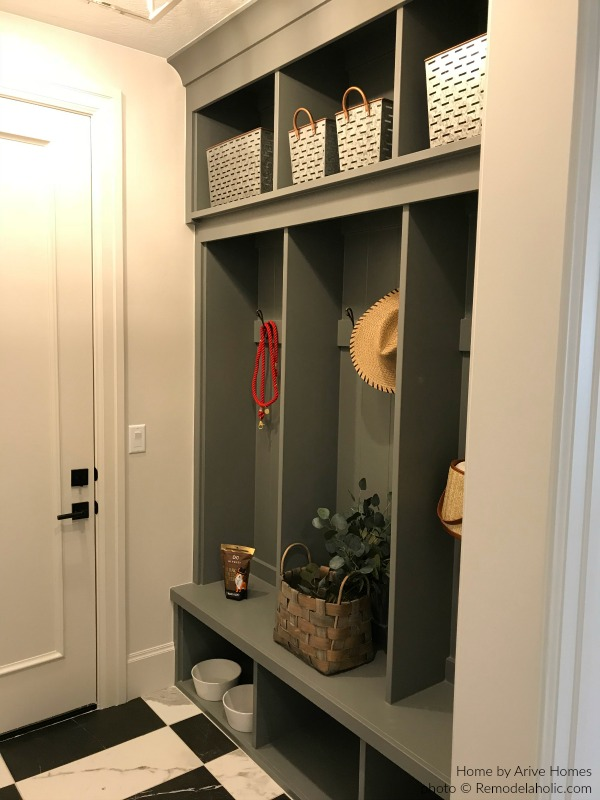 Gray Mudroom With Built In Bench And Lockers And Cubbies, Arive Homes And Brandalyn Dennis Design, 2018 Utah Valley Parade Of Homes, Featured On Remodelaholic