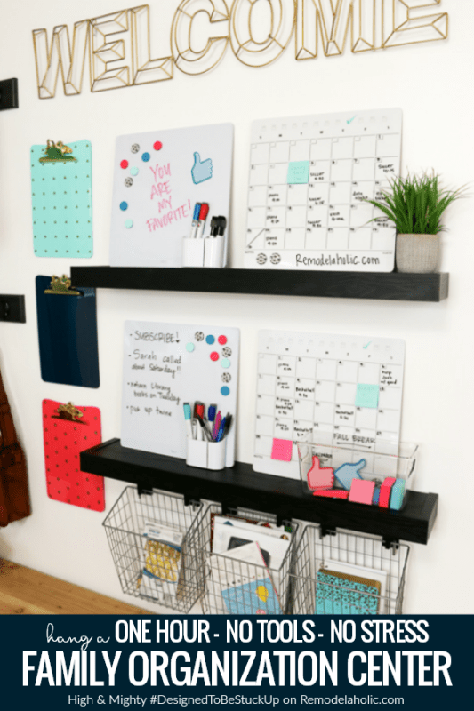 Family organization station featuring High & Mighty #DesignedToBeStuckUp easy to hang floating wall shelves, hooks, and wall hangers #remodelaholic