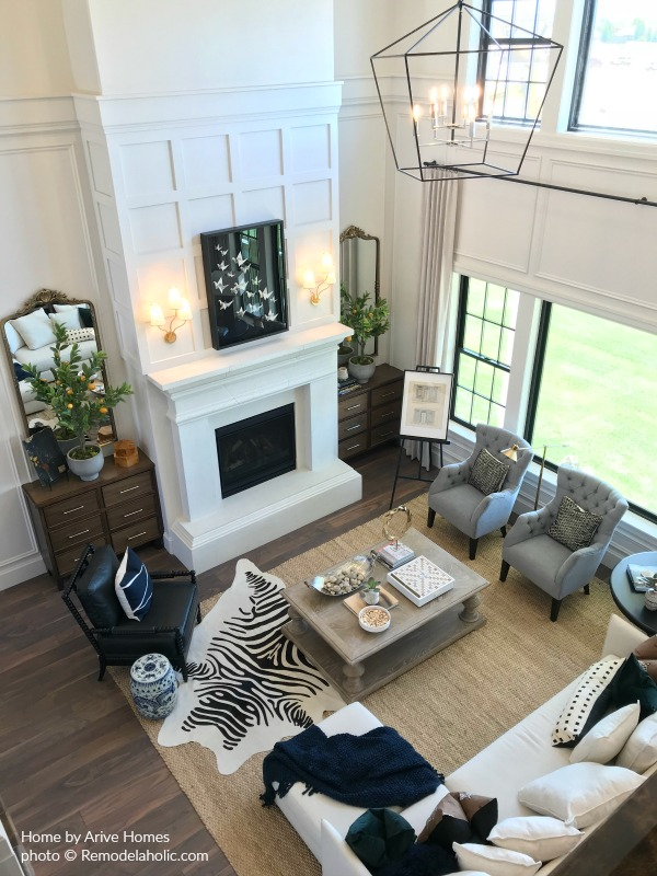 How To Blend Modern And Farmhouse Elements In A Great Room With Fireplace, Arive Homes And Brandalyn Dennis, @Remodelaholic, 2018 Utah Valley Parade Of Homes