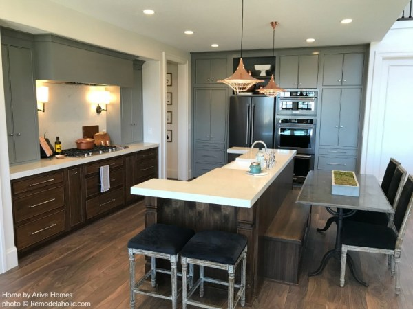 Rustic Modern Kitchen With Mixed Color Cabinets And White Countertops, Arive Homes, Brandalyn Dennis, 2018 Utah Valley Parade Of Homes, Featured On Remodelaholic