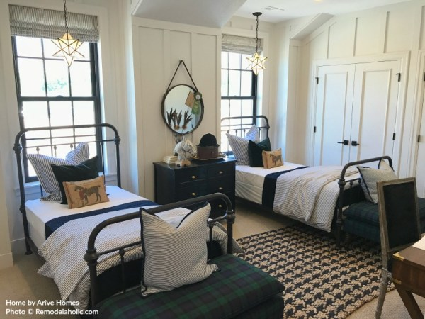Shared Kids Room With Metal Beds And Herringbone Rug, Arive Homes And Brandalyn Dennis, 2018 Utah Valley Parade Of Homes, Featured On Remodelaholic