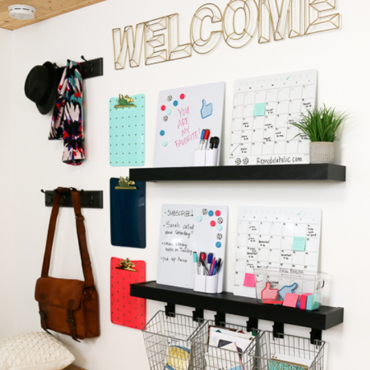 The Quickest And Easiest Way To Hang Shelves And Hooks For A Family Organization Center