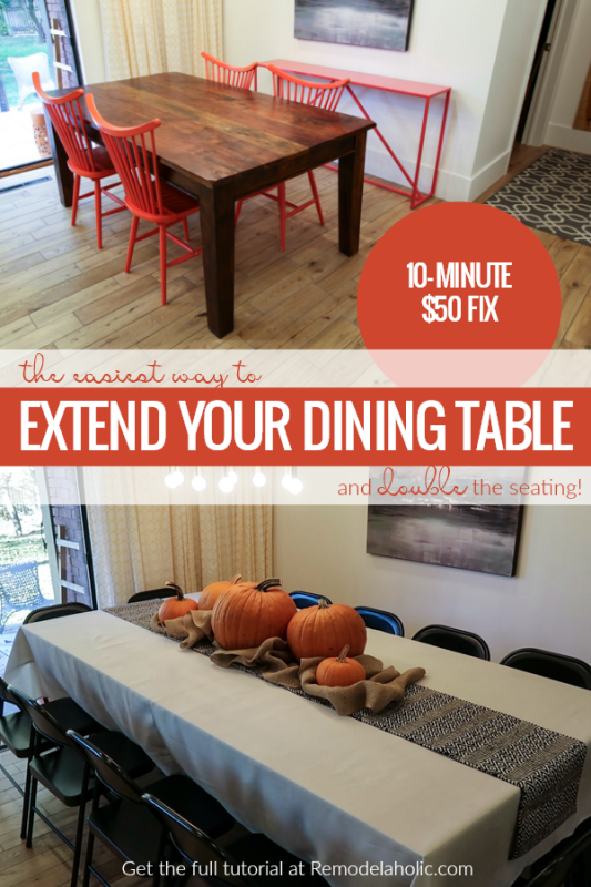 How do you extend a dining table that doesn't have a leaf? This easy DIY plywood hack will give you a bigger dining table with added serving space and seating just in time for Thanksgiving dinner, and it will only take 10 minutes and about $50. It's so easy to make your own dining table extender! #remodelaholic #thanksgivinghack #diningtable