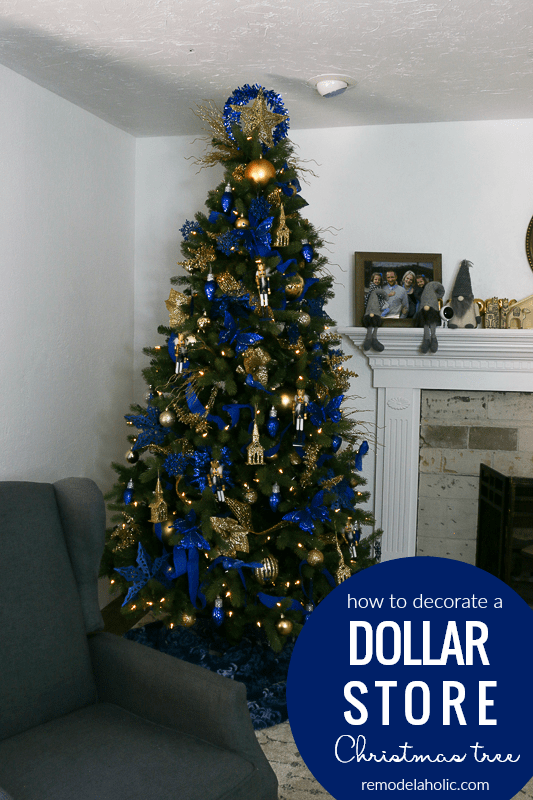 Dollar Store Christmas Tree In Gold And Blue #remodelaholic