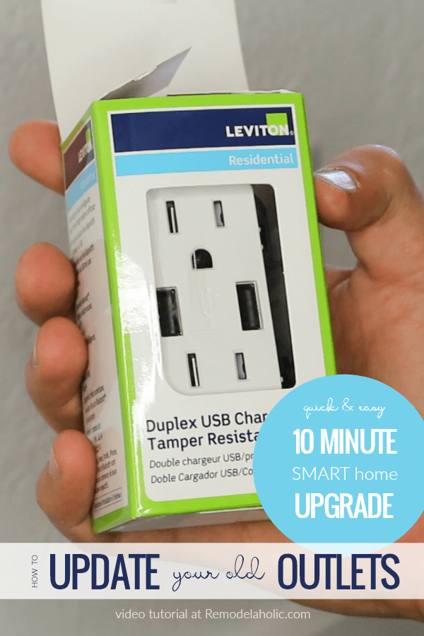 How To Update Old Outlets To A USB Charging Plug | Installing a new dual USB outlet only takes about ten minutes! Learn how easy it is to give your home this SMART update for your electronics. #remodelaholic