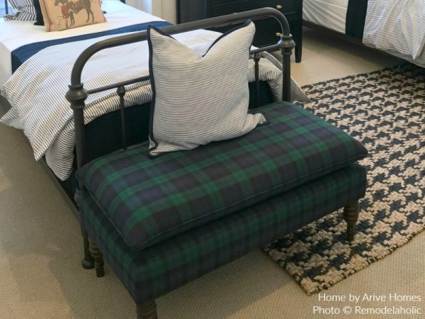 Plaid Upholstered Bench In Modern Farmhouse Boys Shared Room, Arive Homes And Brandalyn Dennis Design, 2018 Utah Valley Parade Of Homes, Featured On Remodelaholic
