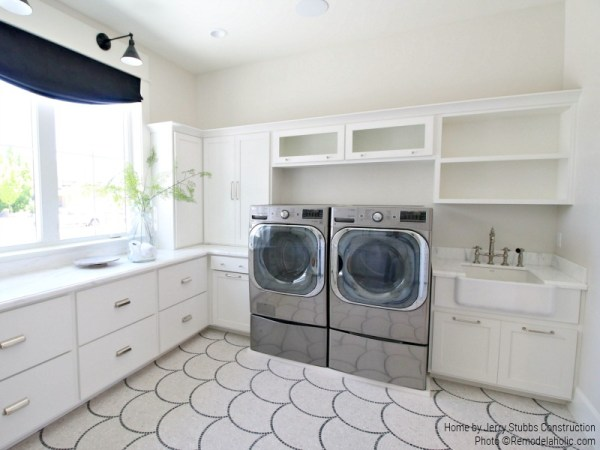 Apron Sink And Fish Scale Tile In White Laundry Room, Jerry Stubbs Construction And Tique And Company, 2018 Utah Valley Parade Of Homes Featured On Remodelaholic
