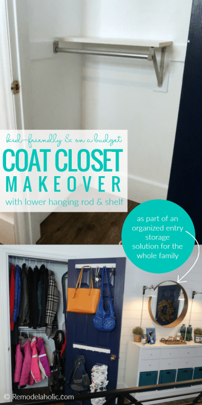 Budget Coat Closet Makeover With A Kid Friendly Lower Hanging Rod And Shelf In An Organized Entryway #remodelaholic #coatcloset #hallcloset #storagecloset #organization