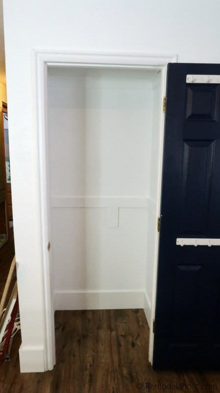 How To Declutter And Organize A Small Entryway Closet And Add Shelves, Hanging Rods, And Hooks To Make A Coat Closet And Broom Closet In One #remodelaholic