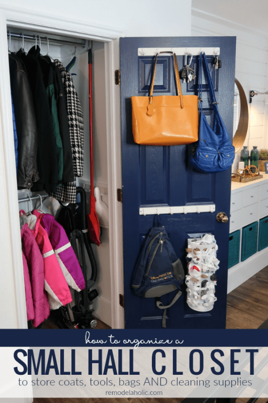 Even a tiny coat closet can dream of big-time organization! See how we decluttered and re-organized our small hall closet by adding an extra hanging rail and shelf plus hooks for additional storage. #remodelaholic #organization #declutter #coatcloset #hallcloset