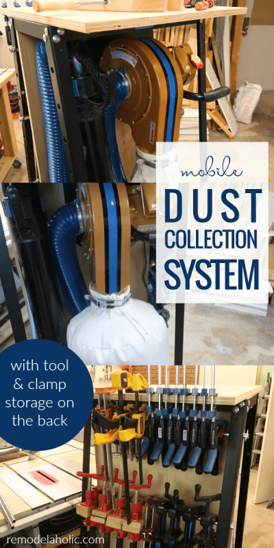 Keep your workshop clean and organized with this double-duty clamp rack and dust collection system. See how to modify the Rockler Pack Rack tool organizer and the Rockler Dust Right dust collector to make a mobile tool organizer and dust collection system combo. #remodelaholic