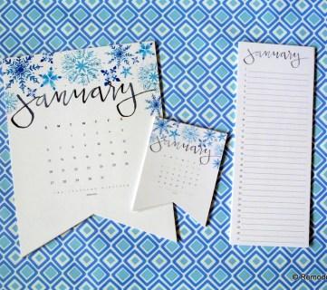 Printable Handlettered Watercolor 2019 Calendar In 3 Sizes Plus Matching Perpetual Calendar #remodelaholic