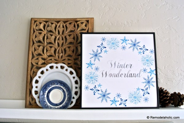 Printable Seasonal Art Set For Easy Home Decor Blue Snowflake Winter Wonderland #remodelaholic
