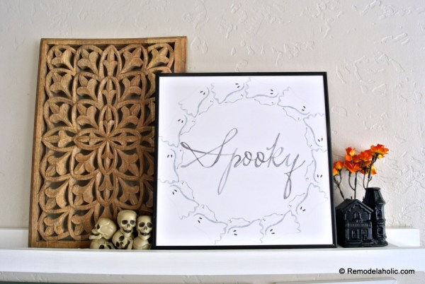 Printable Seasonal Art Set For Easy Home Decor Spooky Watercolor Ghost Wreath Print For Halloween #remodelaholic