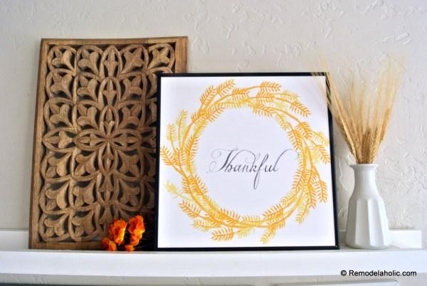 Printable Seasonal Art Set For Easy Home Decor Thanksgiving Thankful Wheat Watercolor Wreath Print #remodelaholic