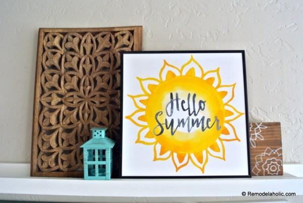 Printable Seasonal Art Set For Easy Home Decor Watercolor Sunshine Hello Summer Print #remodelaholic