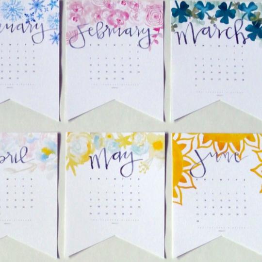 2019 Watercolor Handlettered Printable Calendar + Perpetual Calendar For Birthdays