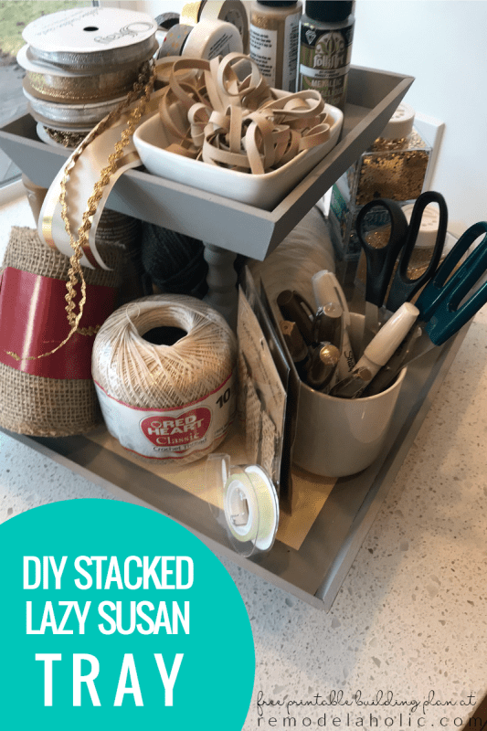 diy stacked lazy susan tray to clear countertops and organize craft and office supplies, bathroom toiletries and makeup, kitchen utensils and produce #remodelaholic