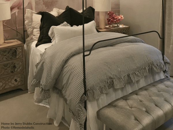 Modern Teen Girls Bedroom With Classic Pinstripe Ruffled Comforter Jerry Stubbs And Tique And Co 2018 Utah Valley Parade Of Homes Featured On Remodelaholic