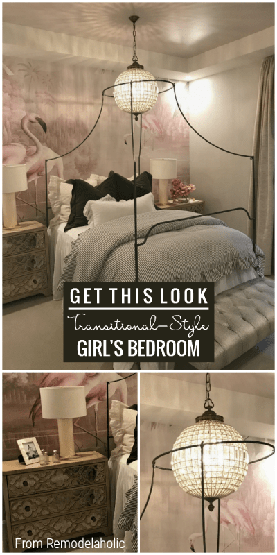 Teen Girls Bedroom In Pink And Metallics With Flamingo Wall Mural Jerry Stubbs And Tique And Co Utah Valley Parade Of Homes Featured On Remodelaholic