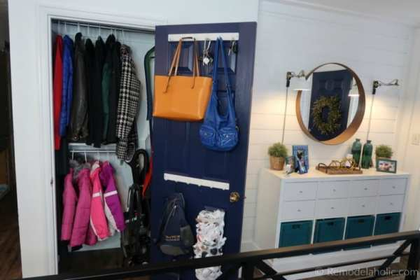 Organized Coat Closet And Entryway Makeover With IKEA Hack Storage Console And Dual Coat And Broom Closet Remodelaholic 768x512