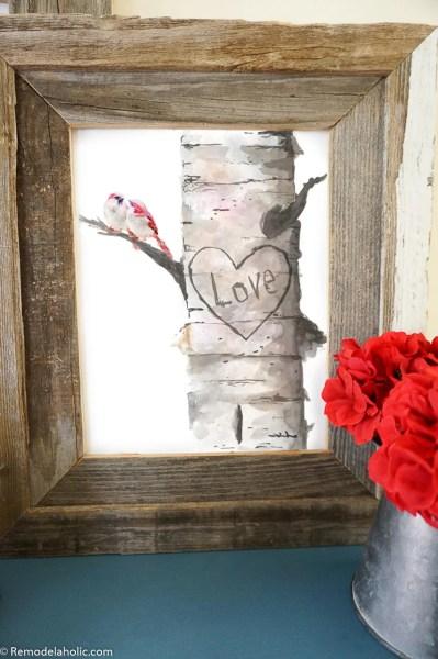 Printable All Season Love Valentine's Day Decor Watercolor Love Birds In A Carved Birch Tree Remodelaholic