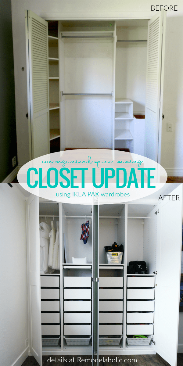 how to update an old closet and add drawers and storage space with IKEA PAX wardrobes #remodelaholic
