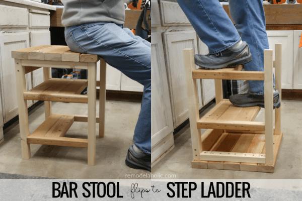 Build A Hoosier Step Stool DIY Bar Stool Step Ladder Combo Using 2x4s #remodelaholic