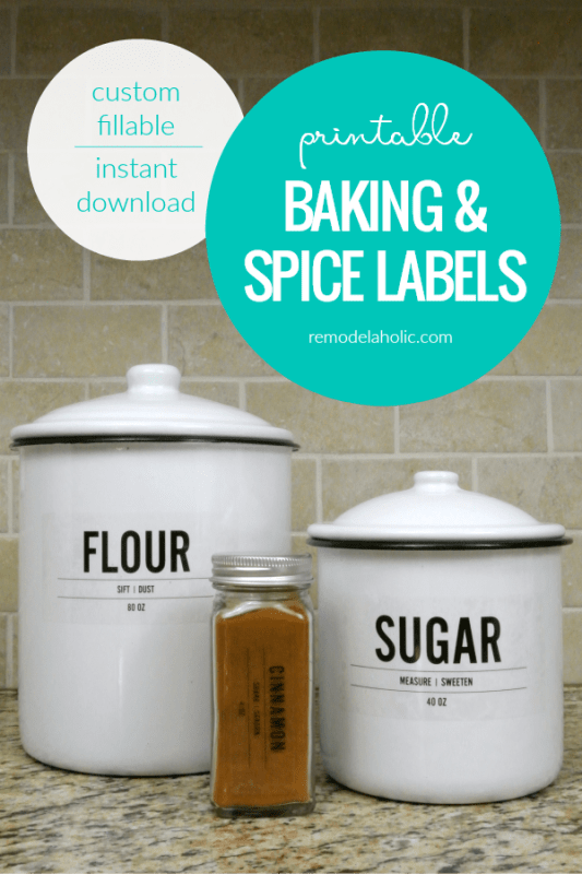 Editable Custom Fillable Instant Download Printable Pantry Baking And Spice Labels #remodelaholic