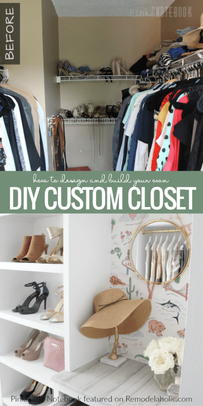 How To Design And Built Your Own Custom Closet Organizer From Plywood In A Basic Walk In Closet, Pink Little Notebook Featured On #Remodelaholic