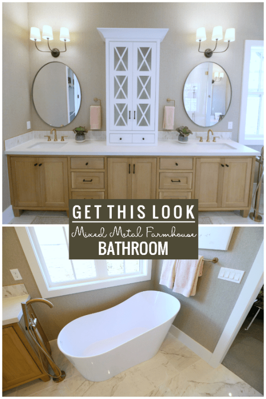 Modern Farmhouse Bathroom With Mixed Metal Fixtures And Drawer Pulls Featured On Remodelaholic