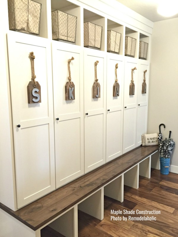 Mudroom With Lockers And Personalized Tags Maple Shade Constr..ed