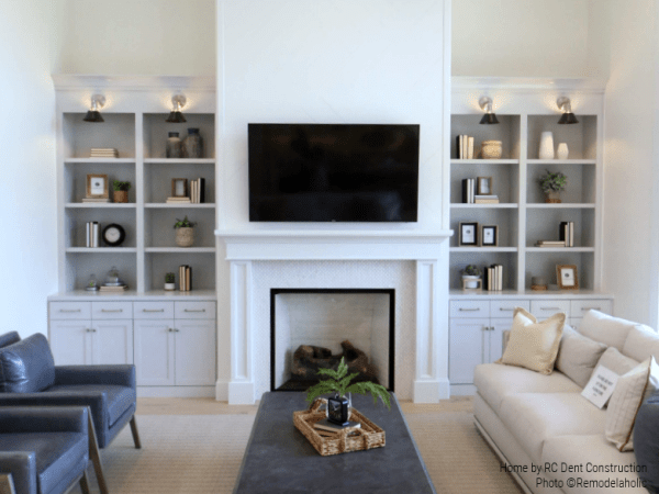 Decorated Shelves Flank A White Fireplace In This Comfy Modern Living Room RC Dent Construction & Remedy Design 2018 Utah Valley Parade Of Homes Featured On Remodelaholic