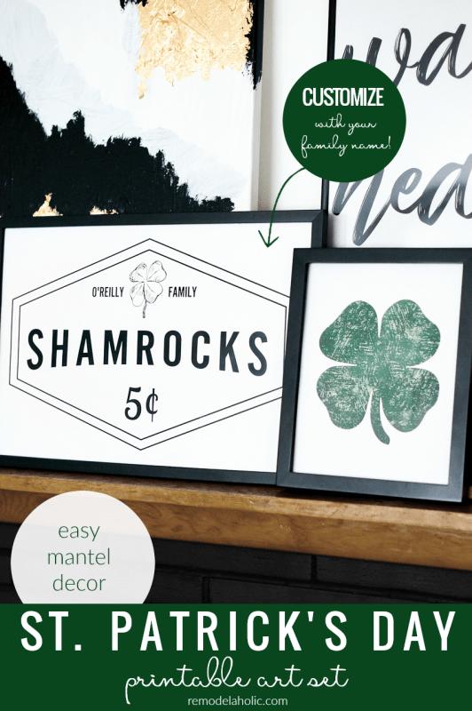 St Patrick's Day Printable Art Set, Custom Family Name Shamrock Sign #remodelaholic Shop Instant Download