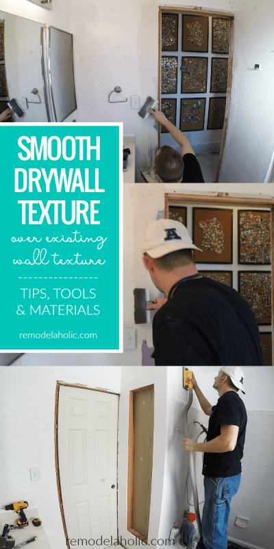Wondering how to update wall texture? See how we went from a dated rough texture to smooth drywall texture in our bathroom while adding built-ins between the studs, including our experienced tips, recommended tools, and materials for DIY drywall projects. #remodelaholic