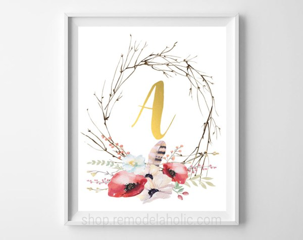 Twig And Pink Floral Gold Monogram Letter Art Printable #remodelaholic