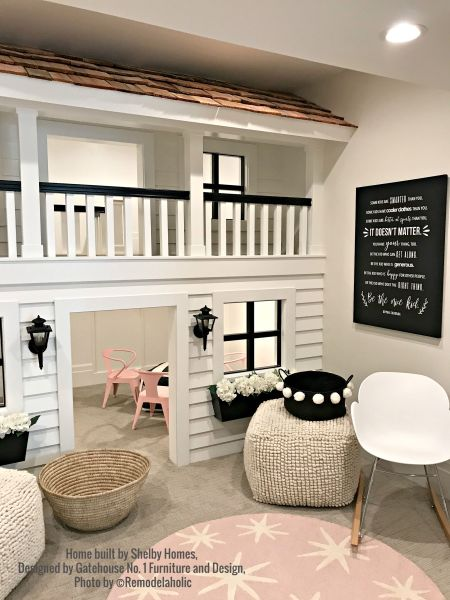 Kid Playroom, Playhouse With Pink Shelby Homes, Gatehouse No. 1 Furniture & Design (341).ed